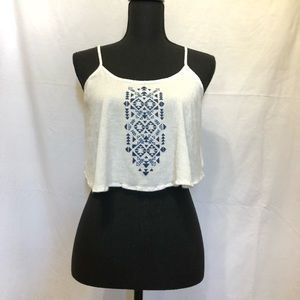 White Crop top with blue Aztec Print